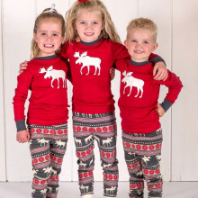 Kids Christmas Deer Pajamas Sleepwear Set Long-sleeve Cotton Pjs
