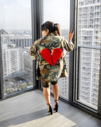 Unique Casual Long Camouflage Coat With Pockets MD128