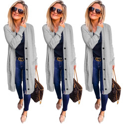 Hot V Neck Cardigan Button Down Coat With Pockets SY8286