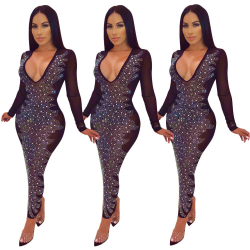 Club Bodycon Mesh V Neck Long Dress With Diamond Q177