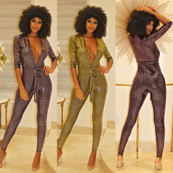 Deep V Neck Glitter Sequins Skinny Jumpsuits With Belt K8666