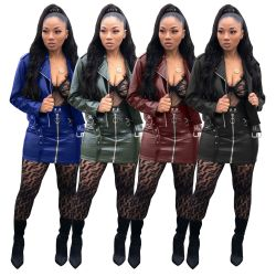 Leather PU Jackets Mini Skirts Sets SMR9108