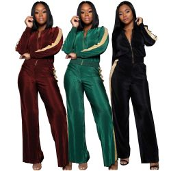 New Arrvial Two Pieces Sets Wide Leg Pant Jackets SMR9053
