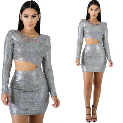Newest Clubwear Glitter Slim Bodycon Short Dress LS6195