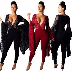 Deep V Neck Pure Color Lace Bodycon Jumpsuits QZ4039