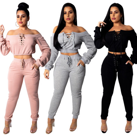 Off Shoulder Crop Top Skinny Pants Sets CM302