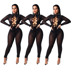 Black Mesh Rhinestone Hollow Out Bodycon Jumpsuits JH 075
