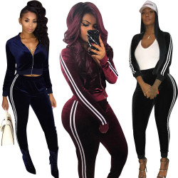 Women Hot Stripe Patchwork Pleuche Sport Suits LS6021
