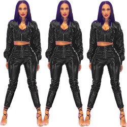 Cool Crop Tops Skinny Pants PU Leather Sets AMM8079