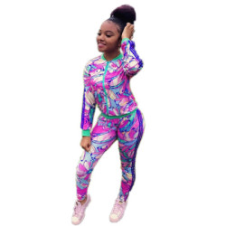 Wholesale Autumn Bodycon Colorful Printing Track Suits D8215