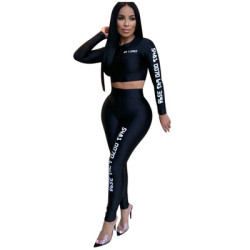 Women Solid Letters Printing Bodycon Track Suits M842