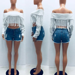 White Off Shoulder Tassel Fringe Short Sweaters YS241