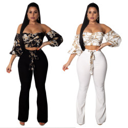 Fashion Lady Outfits Off Shoulder Top Wide Leg Pants MY9254