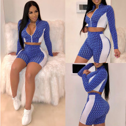 Running Ladies Bodycon Printing Short Suits K8680