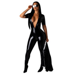 Hot Sale Bodycon PU Leather Deep V Collar Jumpsuits DN8177