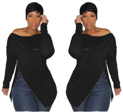 Black Zipper Long Sleeves Off Shoulder Hoodies H1080