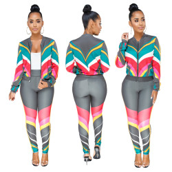 Colorful Print Running Sports Suits Outfits SMR3002