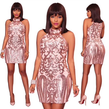 Sequin Bodycon Sleeveless Short Dress For Women JLX8579