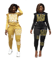 Ladies Bodycon Letters Printing Ruffle Track Suits D8224