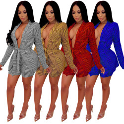 Office Ladies Printing Suits Belted Coat Bodycon Shorts QQM3599