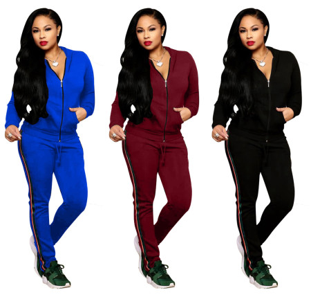 Sport Webbing Patchwork Women Solid Outfits W8142
