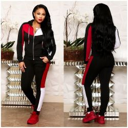 Latest Color Patchwork Women Hooded Track Suits ORY5075