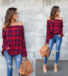 Latest Plaid Off Shoulder Women Shirt D8055