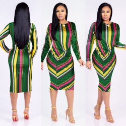 Long Sleeves Striped Midi Bodycon Dress H1066