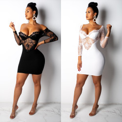 Sexy Backless Lace Patchwork Bodycon Short Dress M878