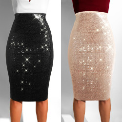 Fashion Solid Sequins Bodycon Midi Dress With Lining K8699
