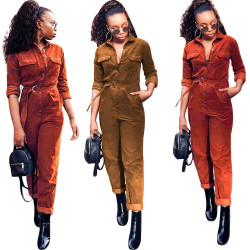Hot Sale Winter Corduroy Solid Women Jumpsuit OG9100