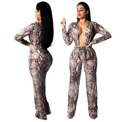 Deep V Neck Wide Leg Print Jumpsuits SMR9101