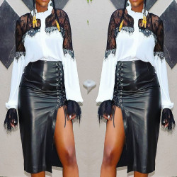 Newest Black PU Leather Bandage Midi Skirts MR161