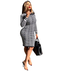 Latest Women Printing Long Sleeves Pencil Dress W8144