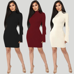 Pure Color Long Sleeves Midi Bodycon Dress ALS066