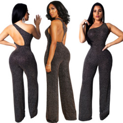 Hot Sale Shiny Irregular Sleeveless Wide Leg Jumpsuits QZ4525