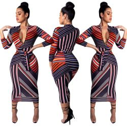 Zip Striped Print Ankle Pencil Dress CM294