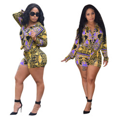 Leisure Printing Suits Women Shirt Bodycon Shorts YZ1670