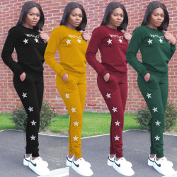 Latest Bodycon Stars Pattern Women Track Suits ALS059