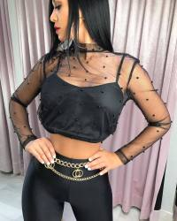Black Mesh Beading Sexy Crop Tops W8148