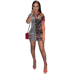 Unique Leopard Print Turn-Down Collar Mini Dresses LS6218