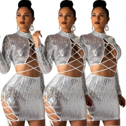 Sexy Women Bandage Shiny Bodycon Skirt Suits E8225