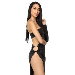 Black Sexy Hollow Out One Shoulder Club Dress MDO8041