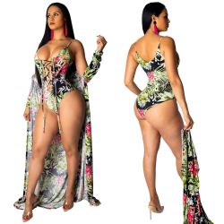 Sexy Two Pieces Sets Bandage Swimsuits+Print Cover Ups SY8325