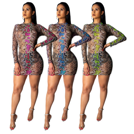 Women Print Sexy Mini Club Dress QQM3678