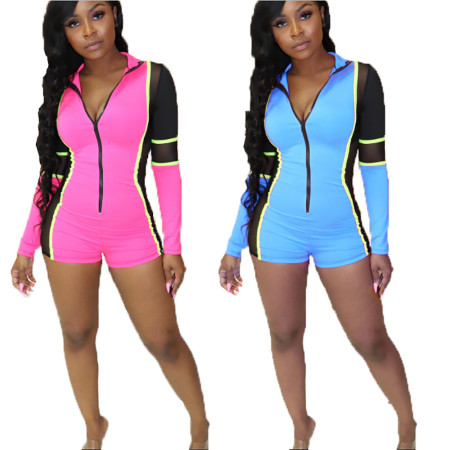 Sport Color Patchwork Bodycon Short Jumpsuit With Zipper MDO9012