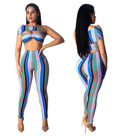 Bandeau Tops Striped Slim Pants Two Pieces Sets MDO9015