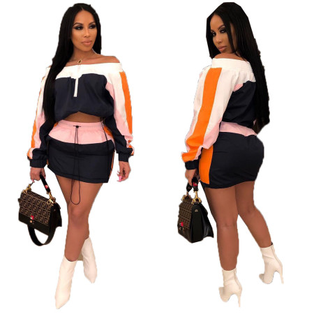 Color Block Off Shoulder Tops Mini Skirts Sets MDO9028