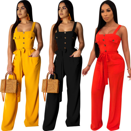 Casual Solid Strapy Wide Leg Jumpsuits OEP5311