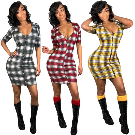 Short Sleeves Zipper Plaid Bodycon Mini Dress H1112